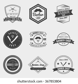 Barber shop logo vector set in vintage style. Design elements, labels, badges and emblems.