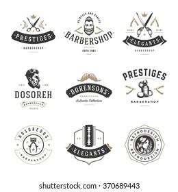 Barber Shop Logos Vector Templates Set. Labels, Badges and Design Elements.