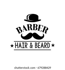 Barber shop and men hair and beard cut premium salon label. Vector isolated symbol of man mustaches haircut with stars for barbershop or hipster gentleman hairdresser coiffeur