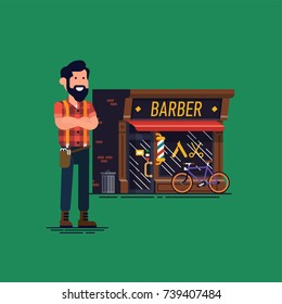 Barber shop owner vector flat character design. Confident local small business owner and professional barber standing in front of his shop