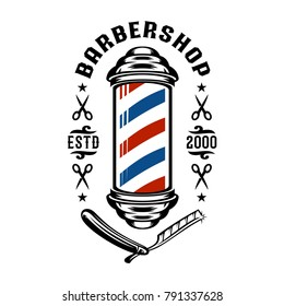 Barber Shop pole logo vintage illustration