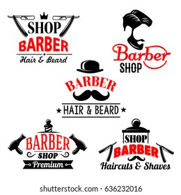 Barber shop premium icons set. Vector isolated symbols of man beards and mustaches haircuts. Barber tools shaving razor or hairbrush comb and scissors for hairdresser hipster coiffeur.