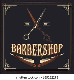 Barber Shop retro vector poster design
