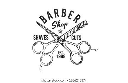 Barber shop scissors vector logo. Retro print. Logo template for Barber shop, haircut's salon, typography. Vintage design