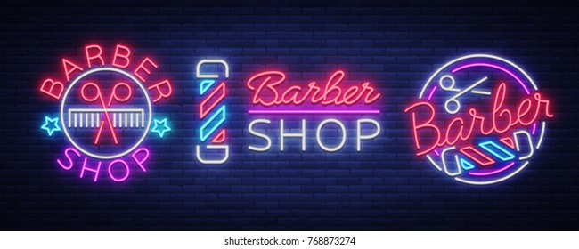 Barber shop set collection logo neon sign, logo. Can be used as a header or template for logos, labels, cards. Neon Sign Board, Bright Lighting Advertising Hairdressing. Vector illustration.