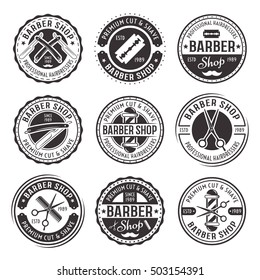 Barber shop set of nine vector black vintage round badges, emblems, labels or logos isolated on white background