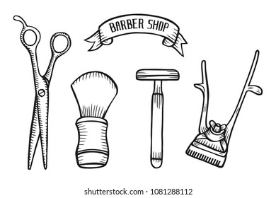 Barber shop set vector. Hand drawn vector illustration isolated on white in old vintage engraving style.