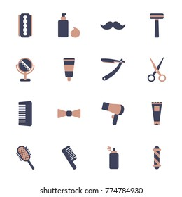 Barber shop and shave shop vector icons. Barber tools, supplies and equipment