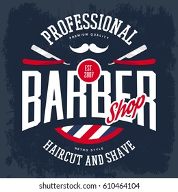 Barber shop sign with razors and mustache, old or retro, vintage logo for haircut and shaving beard and mustache place, hairdresser logo or signboard, t-shirt print.Advertising and profession branding