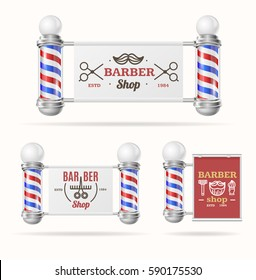 Barber Shop Sign Set with Vintage Glass Striped Pole Traditional Symbol Shaving and Grooming. Vector illustration