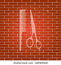 Barber shop sign. Vector. Whitish icon on brick wall as background.