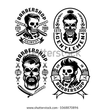 3121f597645b Royalty-free stock vector images ID  1068870896. Barber Shop Skull Head  Hairstyle label illustration - Vector