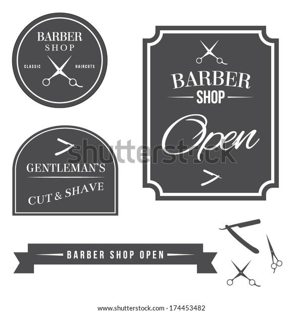 Barber Shop Vector Badges Stock Image