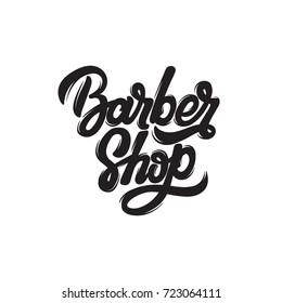 Barber shop. Vector handwritten lettering. Template for card, poster, banner, print for t-shirt, logo design, label.