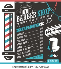 Barber Shop vector price list template. Haircut and shave retro barber sign on dark background. Gentlemen hair styles promotional banner graphic. Barber salon promotional ad or flyer layout.