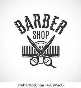Barber shop vector vintage logo, label, badge or emblem design. Isolated on white background
