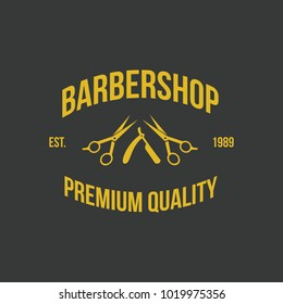 Barber shop vintage logo element hair cut badge illustration icos emblem isolated style