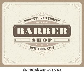 Barber shop vintage retro vector typographic design template