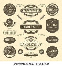 Barber shop vintage retro vector flourish and calligraphic typographic design elements