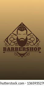 barber shop wallpaper, with gold mockup colors