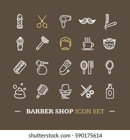 Barber Shop White Icon Thin Line Set on Brown Background. Vector illustration