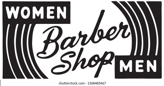 Barber Shop Women Men - Retro Ad Art Banner