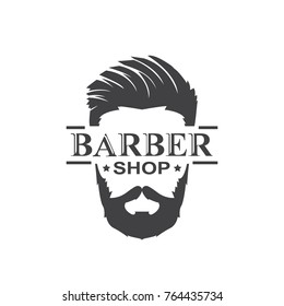 barber shop.face modern design.vector illustration.hipster flat logo
