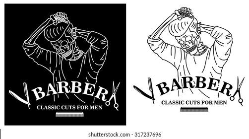 Barber skull combing hair