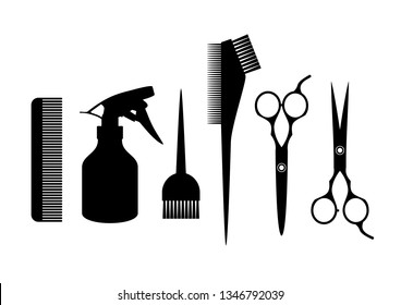 Barber supplies. Silhouette hairdressing tools. Hair salon concept.