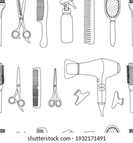 Barber tools on a white background in a seamless pattern. Line art of hair salon accessories for template, business cards, textiles or wrapping paper. Vector illustration, outline, shape, sketch.