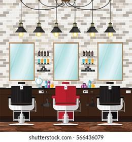 Barber trimmed vector illustration. Stylish hair salon or barber shop design background concept.