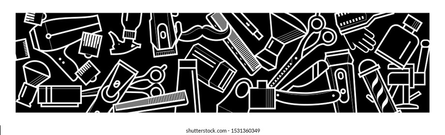 barber - vector background of barber tools. barbershop elements - stylish flat pattern in black. concept - care, beauty, interior decor, print, textiles. randomly scattered barber icons
