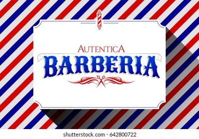 Barberia Autentica, Authentic Barbershop spanish text, vector emblem design