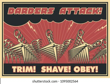 Barbers Attack Poster. Stylization under the Old Cover