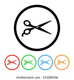 Barber's Shears Scissors Icon with Color Variations