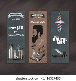 Barbershop Advertising Image. Silhouette Man. Razor and Shaving Brush. Logo on Barbershop Items. Vector Illustration. Advertising Image. Gray Background. Barber Services. Beard Trim. Shave and Cuts.