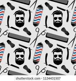 Barbershop background, seamless pattern with hairdressing scissors, shaving brush, razor, comb, hipster face and barber pole. Vector illustration