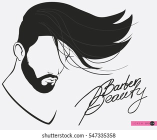 Barbershop beard Mustache Hairstyle Hipster barbershop european man with beards moustaches and stylish haircut silhouette of a man s face in profile, lettering. banner poster for salon isolated vector