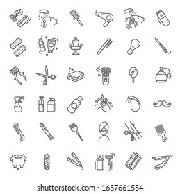 Barbershop and beauty salon vector icons set