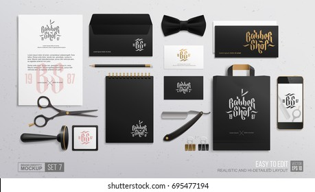 Barbershop branding identity vector mockup. Barber shop stationery items of  envelope, business card, gift card, package, letterhead, scissors. All elements in group on separate layer for easy editing