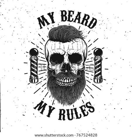 71962a8bda6a Barbershop emblem template. Hipster skull with mustache. Design element for  poster