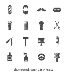 Barbershop equipment, tools, cosmetics vector icons