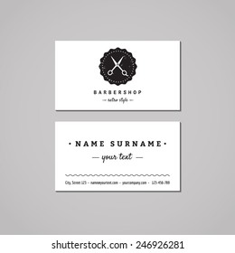 Barbershop (hair salon) business card design concept. Logo with scissors and badge. Vintage, hipster and retro style. Black and white.