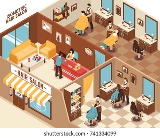 Barbershop hair salon interior and hairdressers and work 3d isometric vector illustration