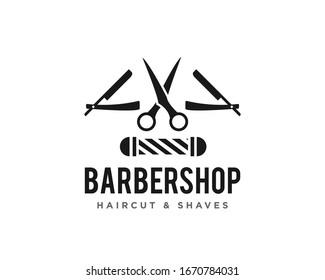 Barbershop or Haircut Logo Icon Design Vector