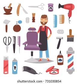 Barbershop hairdresser beard hipster man vector character making haircut saloon tools beauty barber shop hair care accessories flat design illustration