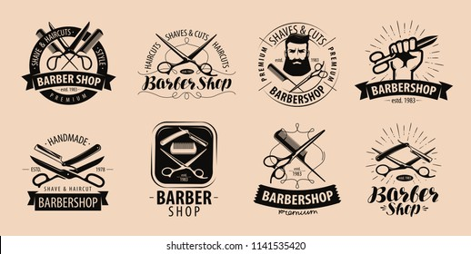 Barbershop, hairdressing salon logo or label. Vector illustration