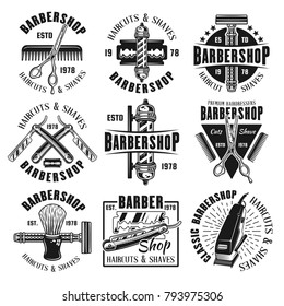Barbershop or hairdressing salon set of nine vector monochrome emblems isolated on white background