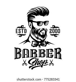 Barbershop hairstyle man label logo illustration