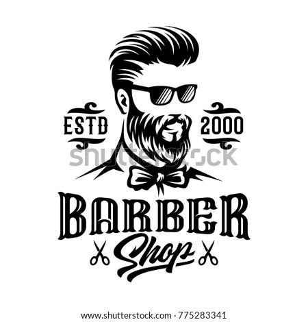 barbershop hairstyle man label logo illustration stock vector